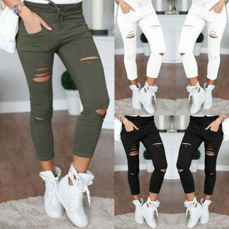 Fashion Casual Women Lady Destoyed High Waist Denim Jeans Pencil Pants Trousers