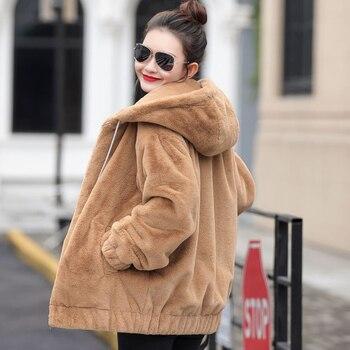 2019 Herfst Hoodie Pluis Vrouwen Jas Lange Mouwen Pocket Streetwear Vrouwelijke Jas