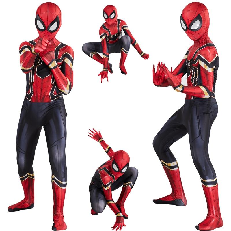 Kids Iron Spiderman Costume Cosplay Superhero Costume Children Jumpsuit Suit Halloween Costume For Kids Carnival Party Dress Up