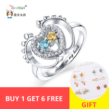 Strollgirl new 925 sterling silver small footstep heart-shaped ring with birthstone custom engrave name jewelry Anniversary gift manbu custom infinity knot ring with moonstone 925 sterling silver ring for women fashion jewelry anniversary gift free shipping