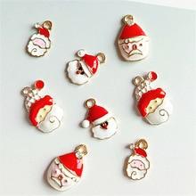 10pcs Cute Santa Alloy Enamel Charms Christmas Men Pendants Bracelets DIY Jewelry Accessories Gifts YZ588