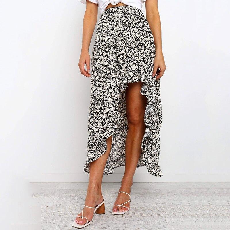 New Maxi Skirts Vintage High Waist Print Irregular Women Skirt  Spring Summer Beach Casual Women Long Skirts Ladies Clothes