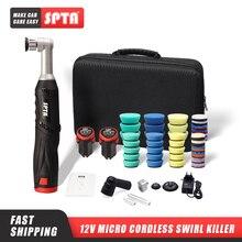 SPTA – Mini polisseuse de voiture à double Action, 12V, Micro sans fil, pour le polissage, le ponçage et le nettoyage