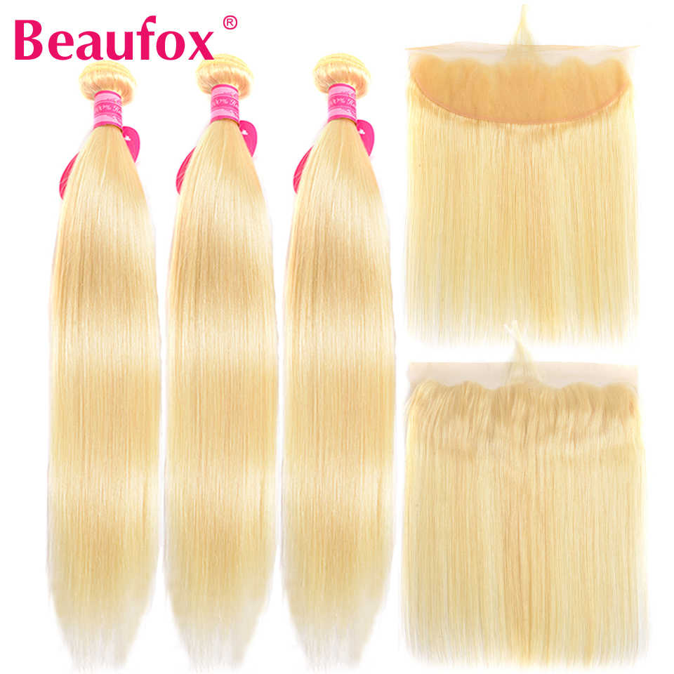 Beaufox 613 Bundles With Frontal Brazilian Straight Hair Bundles With Frontal Closure Blonde Human Hair Frontal With Bundle Remy