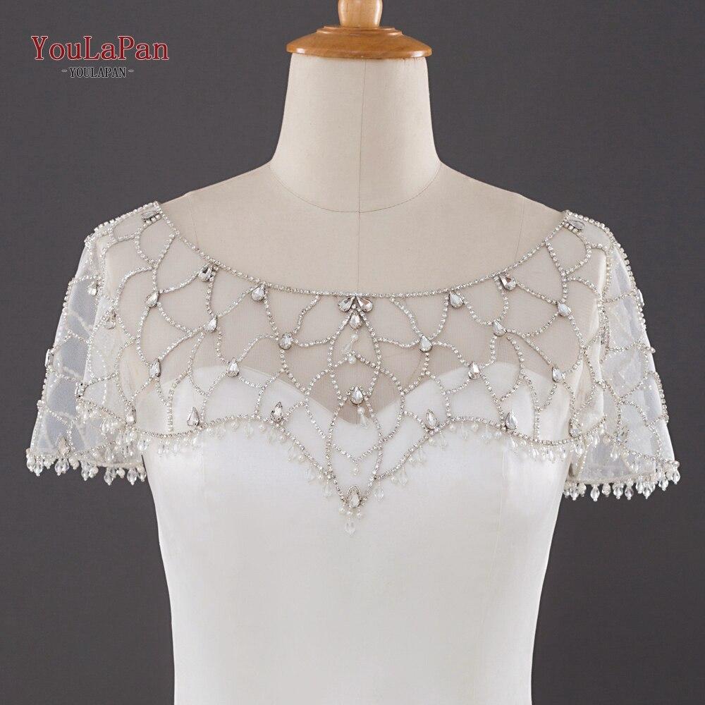 YouLaPan G14 Wedding Bolero Luxury Short Beading Applique Crystal Wedding Wrap Jacket For Evening Prom Fashion Women Accessories