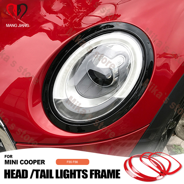 Hot sale ABS For Mini Cooper F55 F56 car styling  Rear Tail Lights+Head Lamps Rims Surrounds Covers car styling (4 Pcs/set)