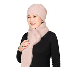Зимняя теплая шапка для пожилых женщин шерстяная вязаная среднего