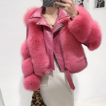 Hot Sale Full Pelt Thick Real Fox Fur Coat with Genuine Sheepskin Leather Long Sleeves Short Motor Biker Jacket Outerwear