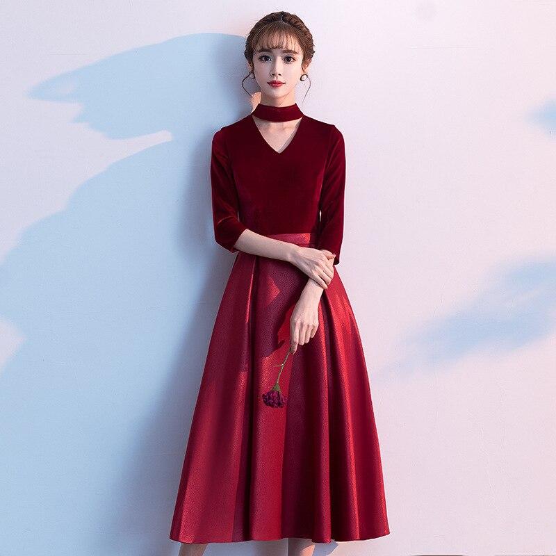 Vestido De Festa Toast 2020 Autumn And Winter Modern Wine Velvet Middle Sleeve Wedding Engagement Dress Skirt Simple Atmosphere