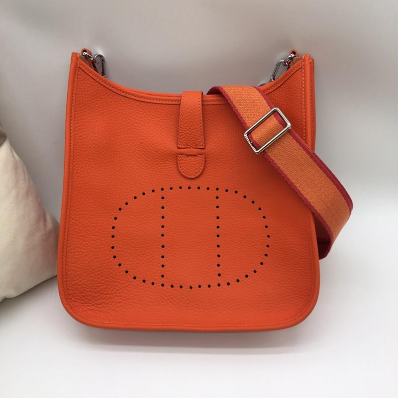 Bolso diagonal de cuero Eveline gran correa de hombro de cuero bolso de hombro de moda nuevo H original lychee patrón - 4