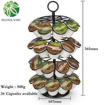 Duolvqi Coffee Pod Holder Rotating Dispenser Coffee Capsules Tower Stand For 36pcs K-CUP/Dolce Gusto Coffee Capsules