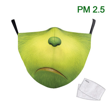 Cute Animal Fabric Face Mask Print Angry Dog Mouth Cover Reuable Washable Fabric Filter Adult Protective PM 2.5 Adjust Filter