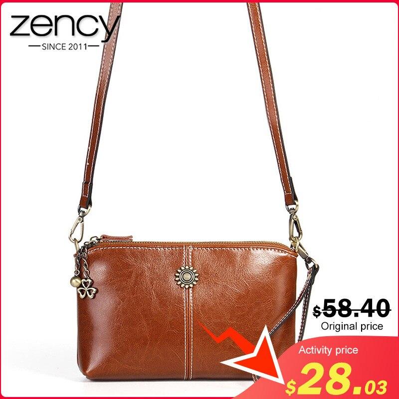 Zency 100% Genuine Leather Retro Women Messenger Purse Day Clutches Fashion Lady Shoulder Crossbody Bags Black Brown Handbag|Top-Handle Bags| |  - title=