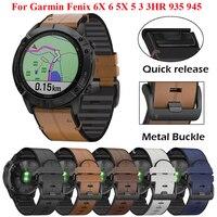 22 26mm Quickfit Uhr Strap Für Garmin Fenix 6 6X Pro 5X 5 Plus 3HR 935 945 S60 Echte leder Band Silikon Uhr Armband