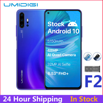 "UMIDIGI F2 Android 10 Global Version 6.53""FHD+6GB 128GB 48MP AI Quad Camera 32MP Selfie Helio P70 Cellphone 5150mAh Mobile Phone"