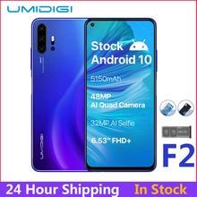 UMIDIGI F2 إصدار عالمي من أندرويد 10 بشاشة 6.53 بوصة فائقة الوضوح + 6 جيجابايت وذاكرة وصول عشوائي 128 جيجابايت وكاميرا رباعية AI بدقة 32 ميجابكسل مع خاصية Selfie Helio P70 وبطارية بقدرة 5150 مللي أمبير في الساعة