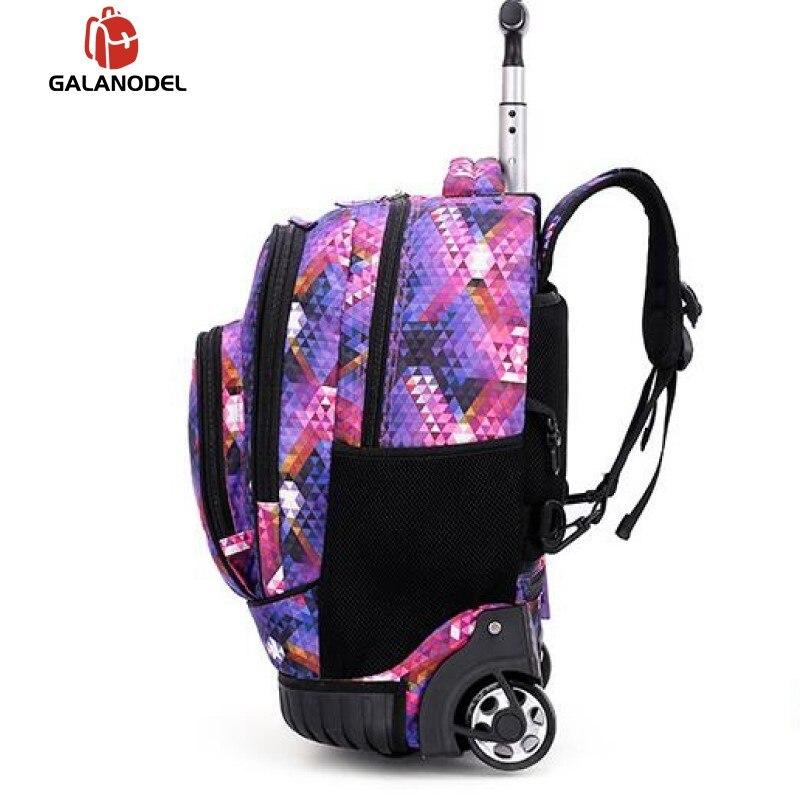 18 Inch Rolling Backpack Travel School Backpacks on Wheel Trolley SchoolBag for Teenagers Boys Children School Bag with Wheels - 3