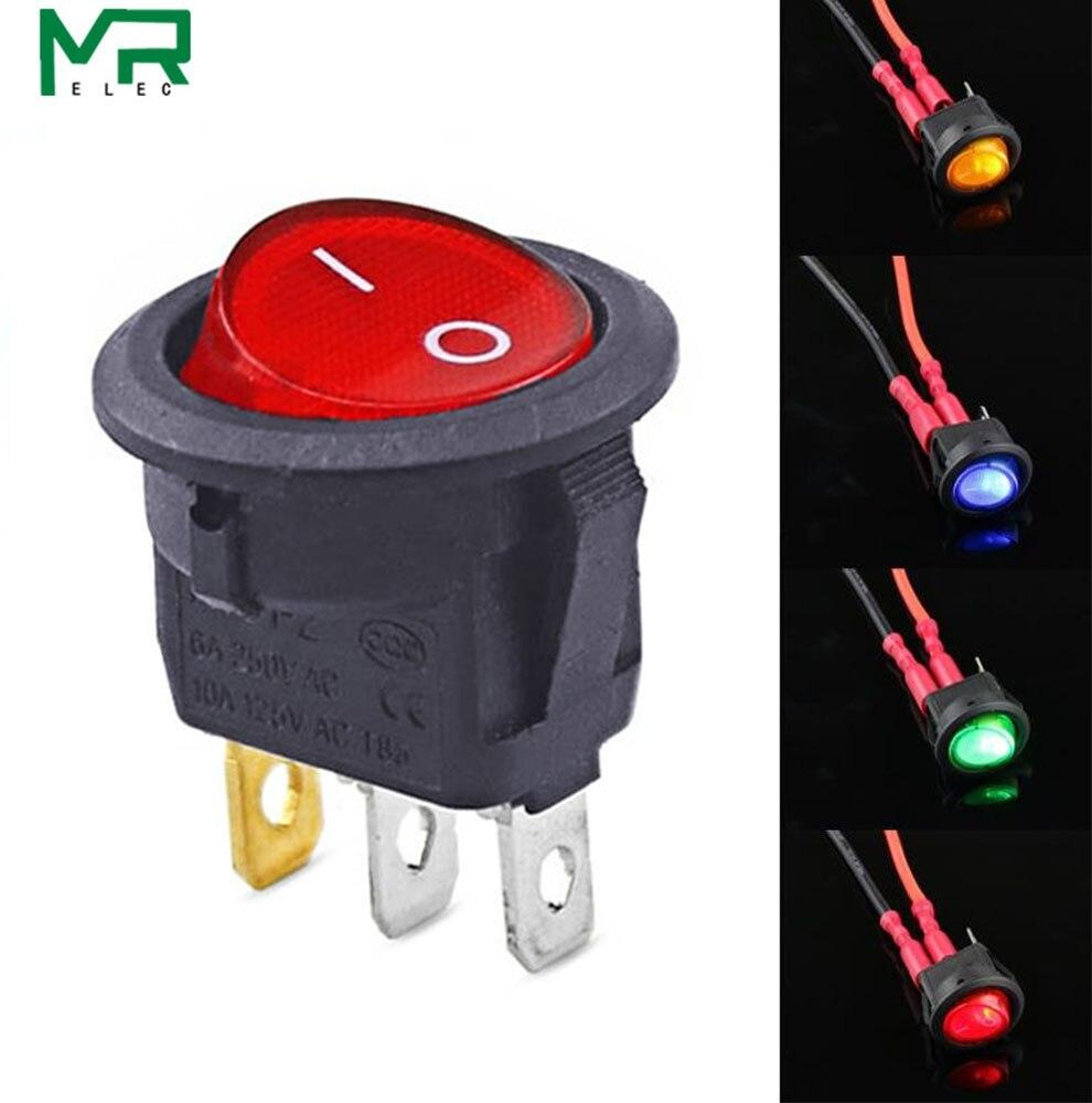 2pcs 12V 20A 3Pin Interruptor de palanca interior del coche Bot/ón redondo Montaje Interruptor basculante de encendido//apagado