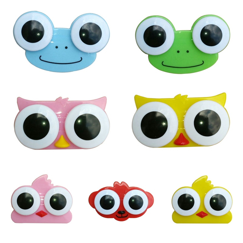 1PC Sweet Cartoon 3D Big Eyes Contact Lenses Box & Case Owl Frog Animal Shape Contact Lens Case Free Shipping