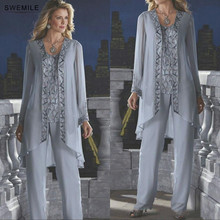 SWEMILE Silver Long Sleeve Beads Plus Size Mother Of The Bride