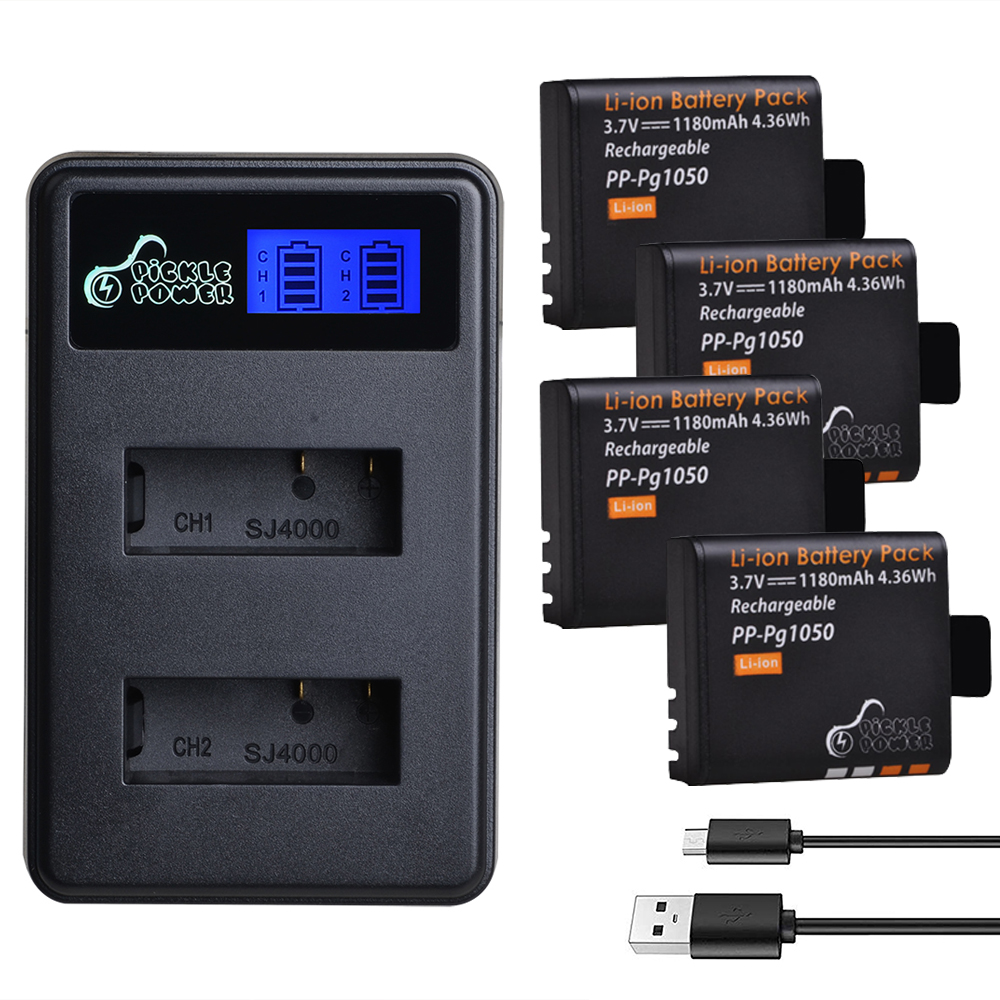 4Pcs 1180mAh <font><b>PG1050</b></font> Battery and LCD USB Charger for SJCAM SJ4000 M10 SJ5000 SJ5000X For EKEN H9 H9R H8R H8 GIT PG900 image