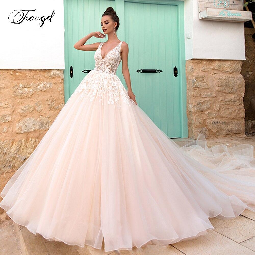 Traugel V-Neck A Line Lace Wedding Dresses Applique Beading Tank Sleeve Backless Bride Dress Court Train Bridal Gown Plus Size