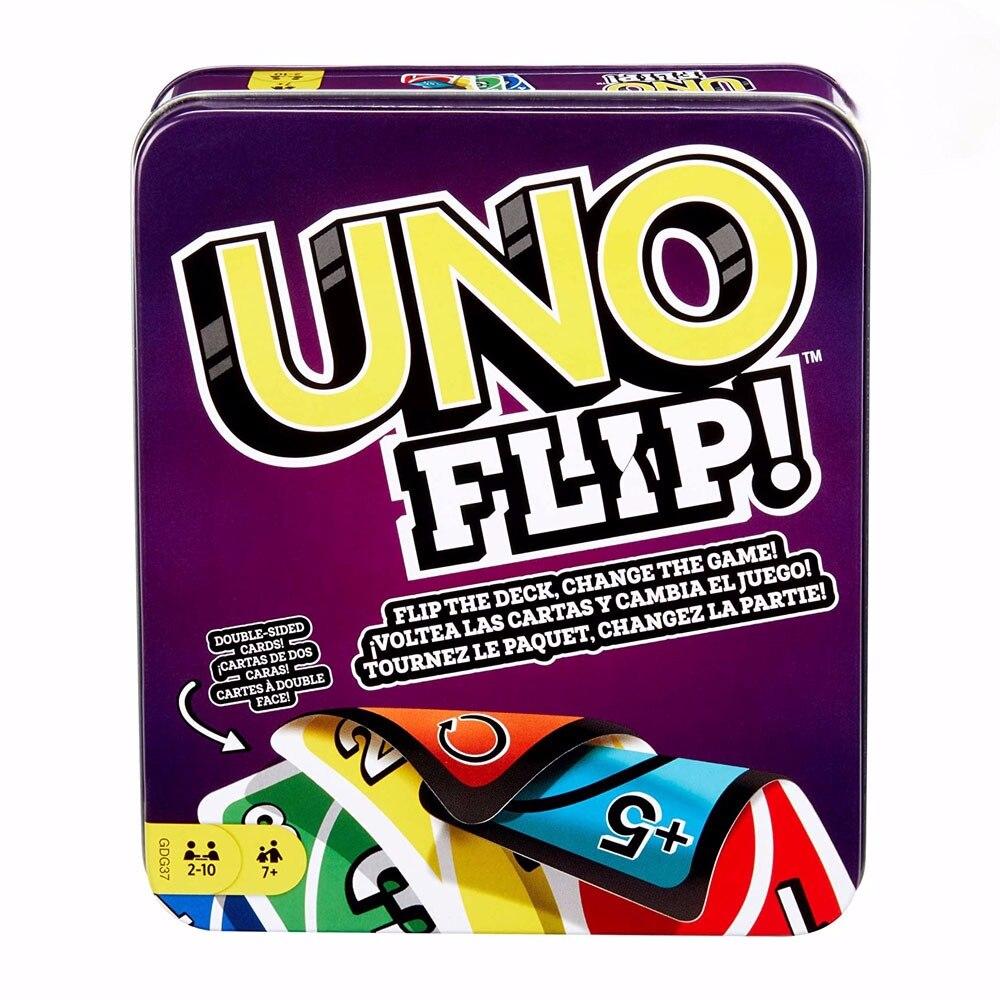 Mattel Games UNO: Flip! (Жестяная коробка) карточная игра семейная забавная многопользовательская игра забавные покерные детские игрушки игральные карты Игры для вечеринки      АлиЭкспресс