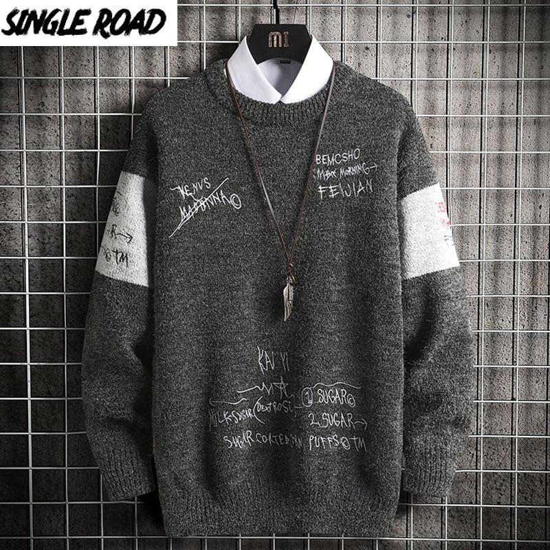 Grey Sweater Pullover Jumper Oversized Vintage Japanese Harajuku Hip-Hop Korean Men Patchwork