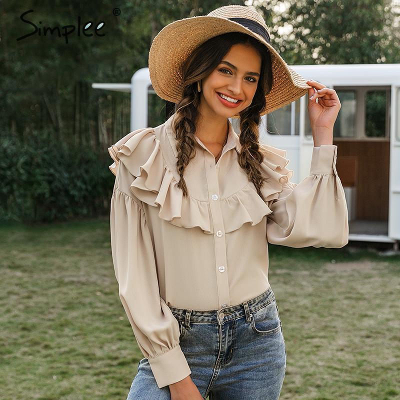 Simplee Vintage Ruffled Women Blouse Shirt Elegant Lantern Sleeve Buttons Female Tops Shirts Autumn Winter Office Ladies Blouses