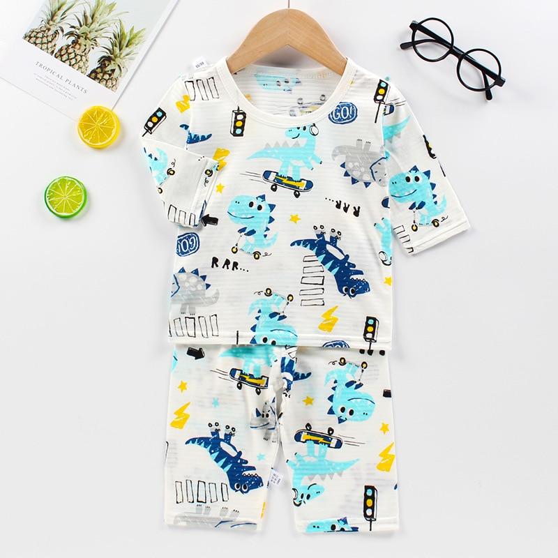 SAILEROAD Kids Dinosaur Pajamas For Boys Girls Summer Children's Pajamas Sets Child Short Pyjamas Boys Cotton Pijamas Home Wear 1