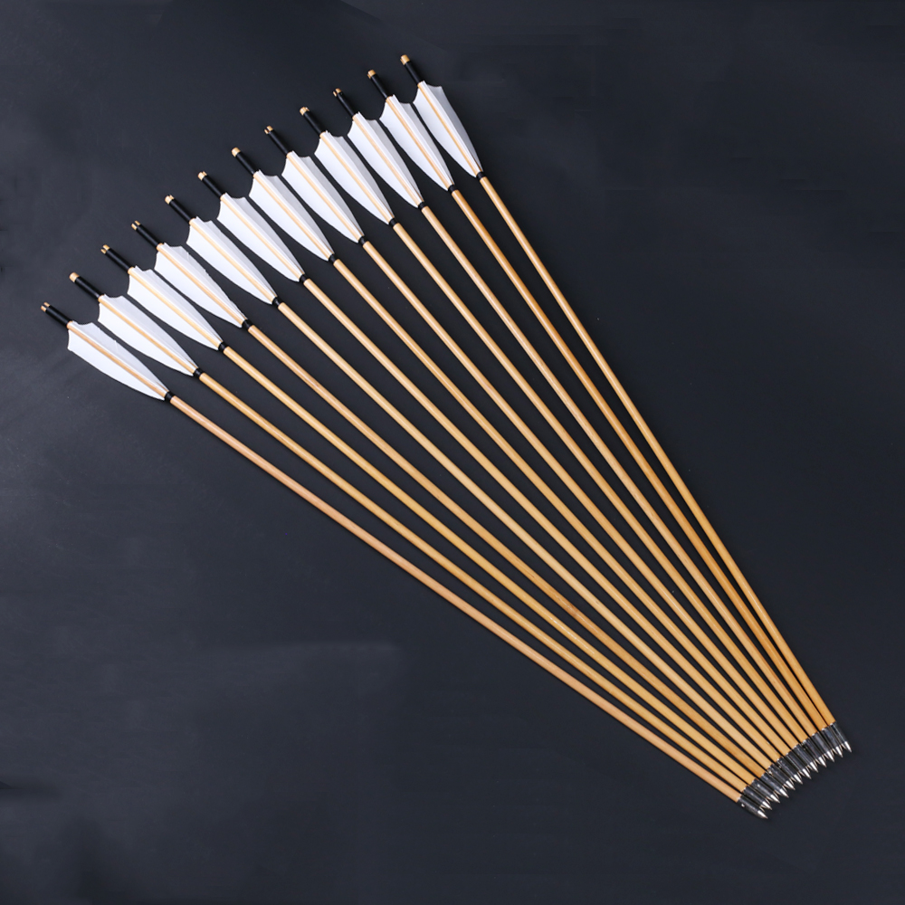 Image 2 - 6/12/24pcs Natural Handmade Wooden Arrows 32inch with White Turkey Feather and Iron Arrowhead for 20 60lbs Bow Archery Shootingwood arrowswooden arrows featherfeather for arrow -