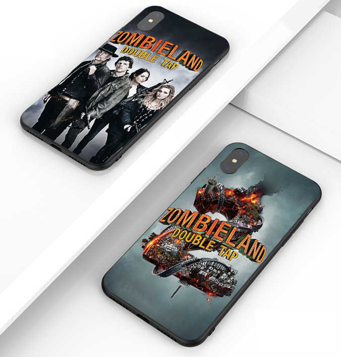Zombieland 2 더블 탭 전화 케이스 블랙 소프트 커버 삼성 s8 s9 s10plus S6 S7Edge S5 for iPhone 6s 7 8plus 5 X XS XR XSMax