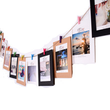 10pcs 6 Inch Paper Photo Frame for Picture DIY Hanging Holder Album Wedding Wall Decor Graduation Party Props