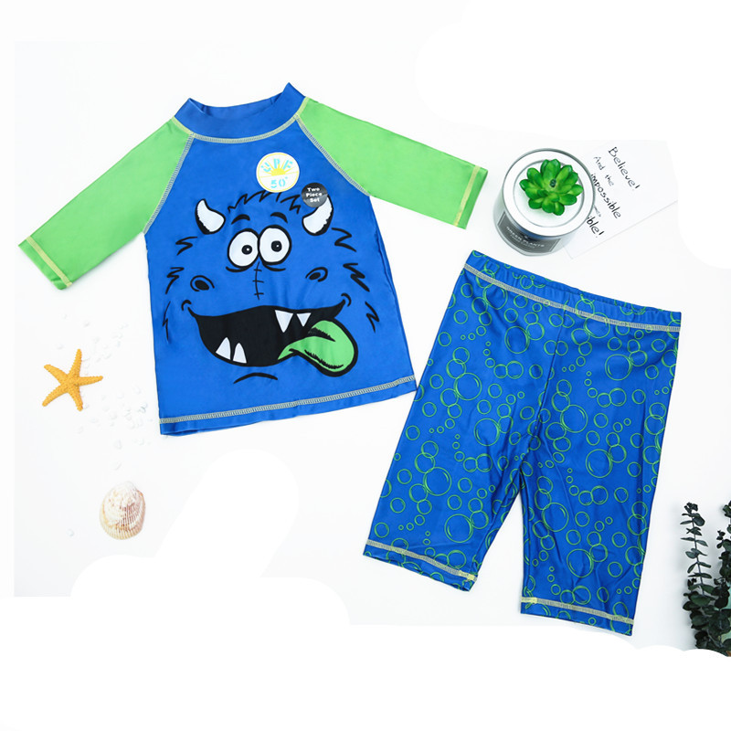 Europe And America BOY'S Clothes With Short Sleeves Surf Wear Bathing Suit Short Swimming Trunks Cartoon CHILDREN'S Swimsuit Boy