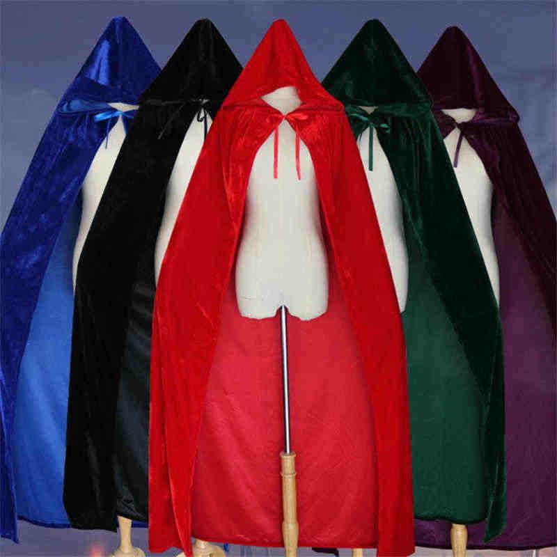 ฮาโลวีนเครื่องแต่งกายสำหรับสตรีชายแฟนซีเสื้อคลุมกำมะหยี่ Hooded ผู้ใหญ่แม่มดยาวสีม่วงสีเขียวสีแดงสีดำฮาโลวีน Cloaks Hood Capes
