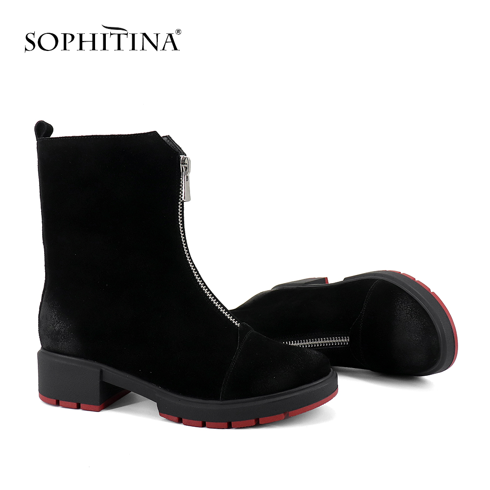 SOPHITINA Stylish Zipper Ladies Boots Casual 4 Cm Solid Med Heel Shoes Basic Handmade Round Toe Square Heel Women Boots SC259