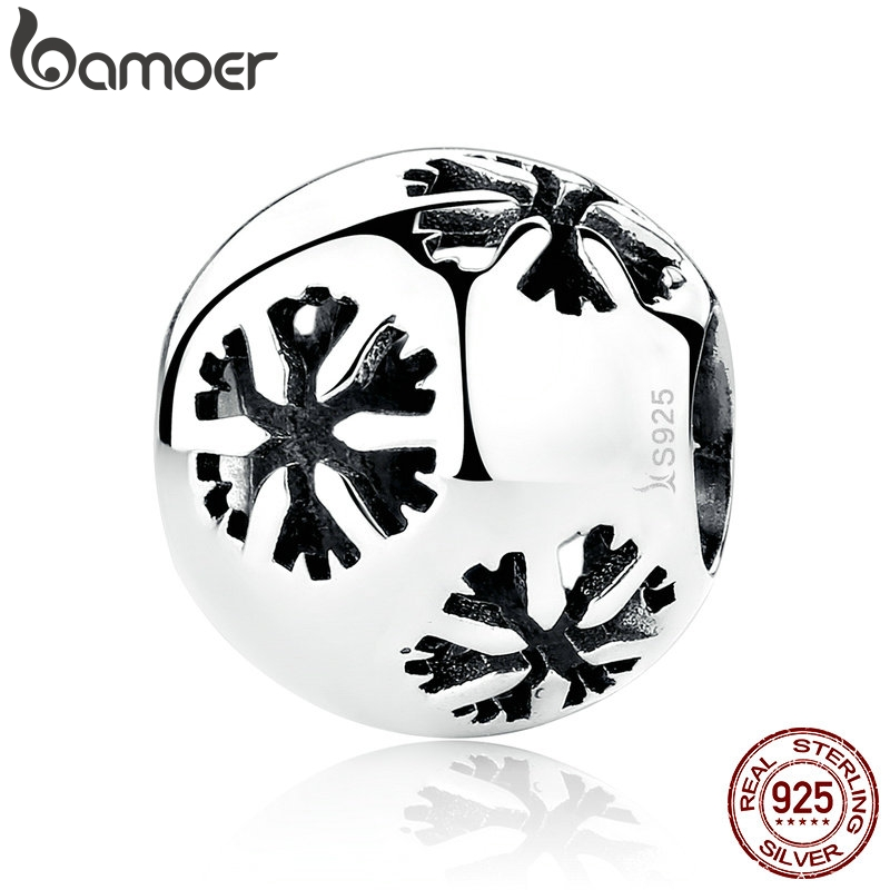 BAMOER Christmas Gift Popular 925 Sterling Silver Snowflake Bead Charms Fit Bracelets & Necklaces Fine Jewelry SCC070