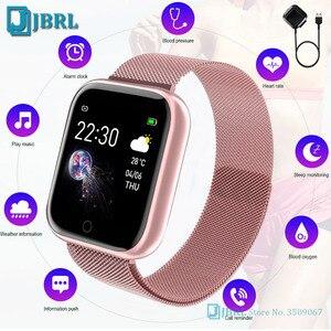 Moda ze stali nierdzewnej Smart zegarek kobiety mężczyźni tętno Fitness SmartWatch Sport kwadratowe inteligentny zegarek dla Android IOS inteligentny zegar