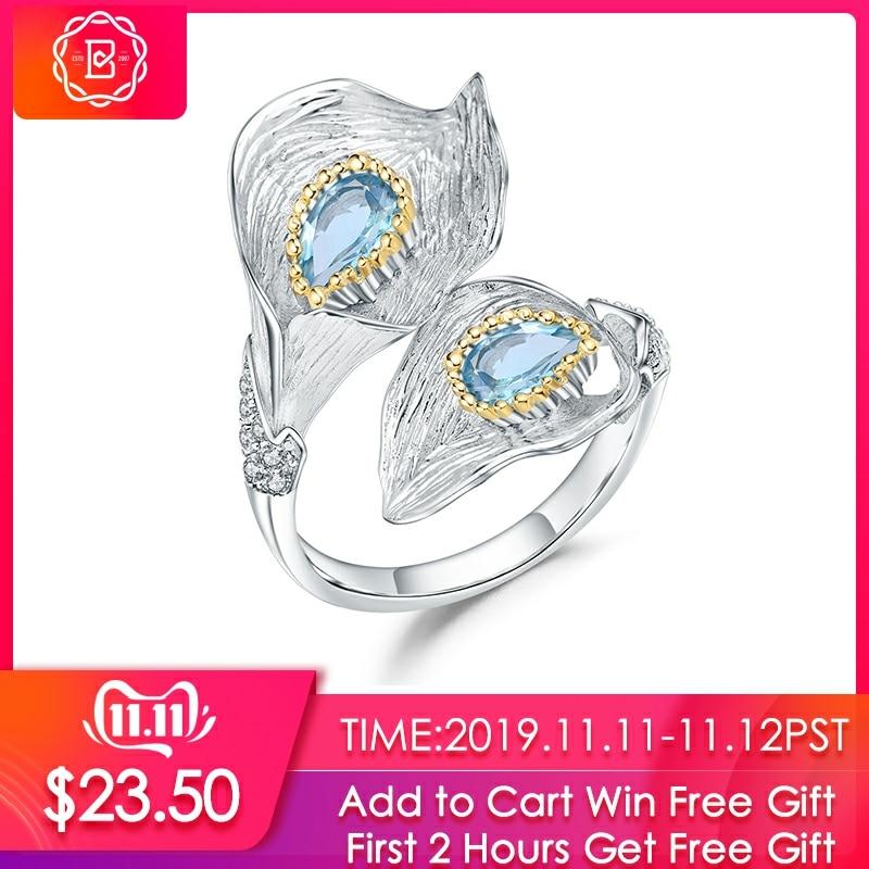GEM'S BALLET 1.25C Natural Swiss Blue Topaz Calla Lily Leaf Rings 925 Sterling Silver Handmade Adjustable Ring For Women Bijoux