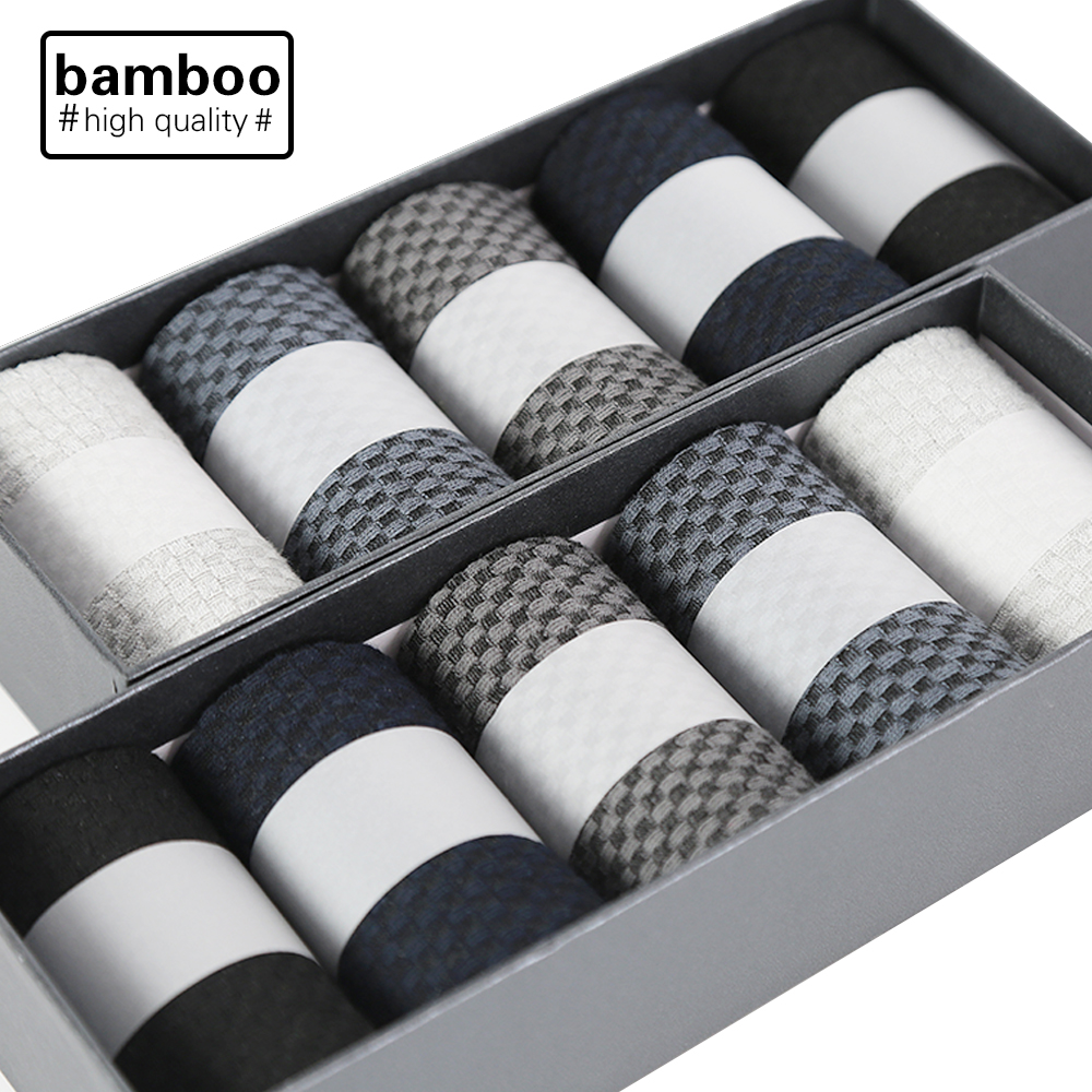10 Pairs/Lot High Quality Men Bamboo Fiber Socks Happy Man Dress Socks Male Winter Warm Long Socks Black Stockings For Gift