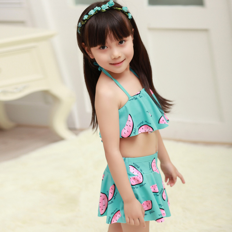Wanpy Small Watermelon Flounced Bikini KID'S Swimwear Fashion Cute Cartoon Two-piece Swimsuits Female Baby