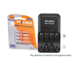 Image 1 - 4 adet PKCELL NIZN şarj edilebilir piller 900mwh 1.6v ni zn pil ve nizn pil şarj cihazı 2 ila 4 adet AA veya AAA pil
