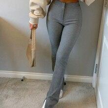 Long Trousers Tracksuit Sports-Pants Y2k Capris Streetwear Skinny Side-Split High-Waist