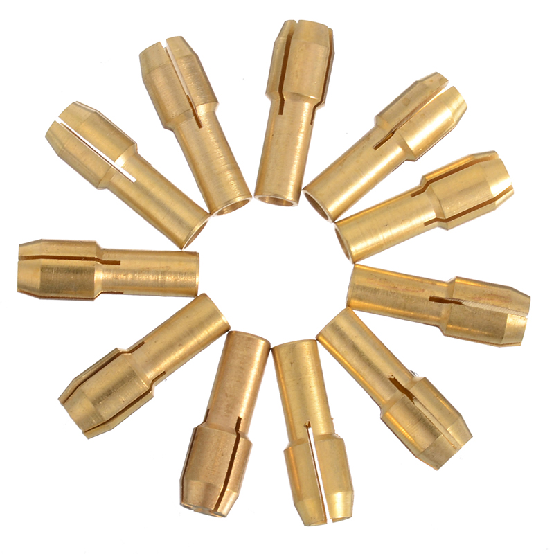 11 Pieces 0.5mm-3.2mm Mini Drill Brass Collet Chuck 4.3mm Shank For Rotary Tool
