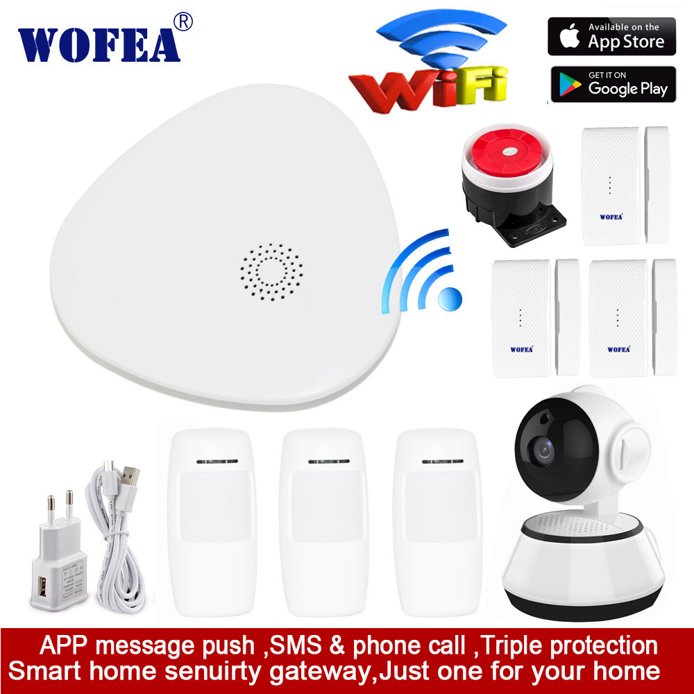 wofea WIFI RF Gataway Home Security Alarm System DIY KIT IOS&Android Smartphone App smart host V10 image