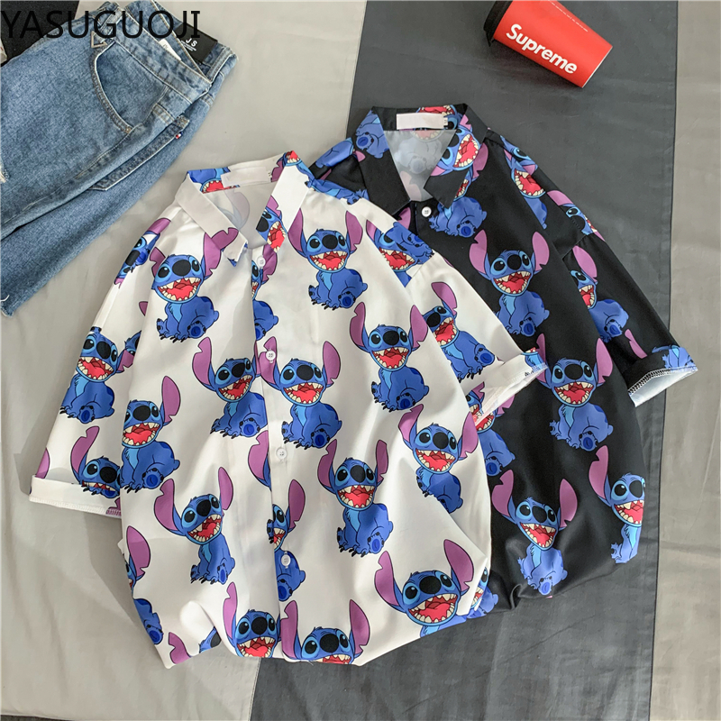 YASUGUOJI Men Summer Casual Cartoon 3D Print Short Sleeve Tee Shirt Turn-down Collar Blouse Hawaiian Top for Beach Holiday