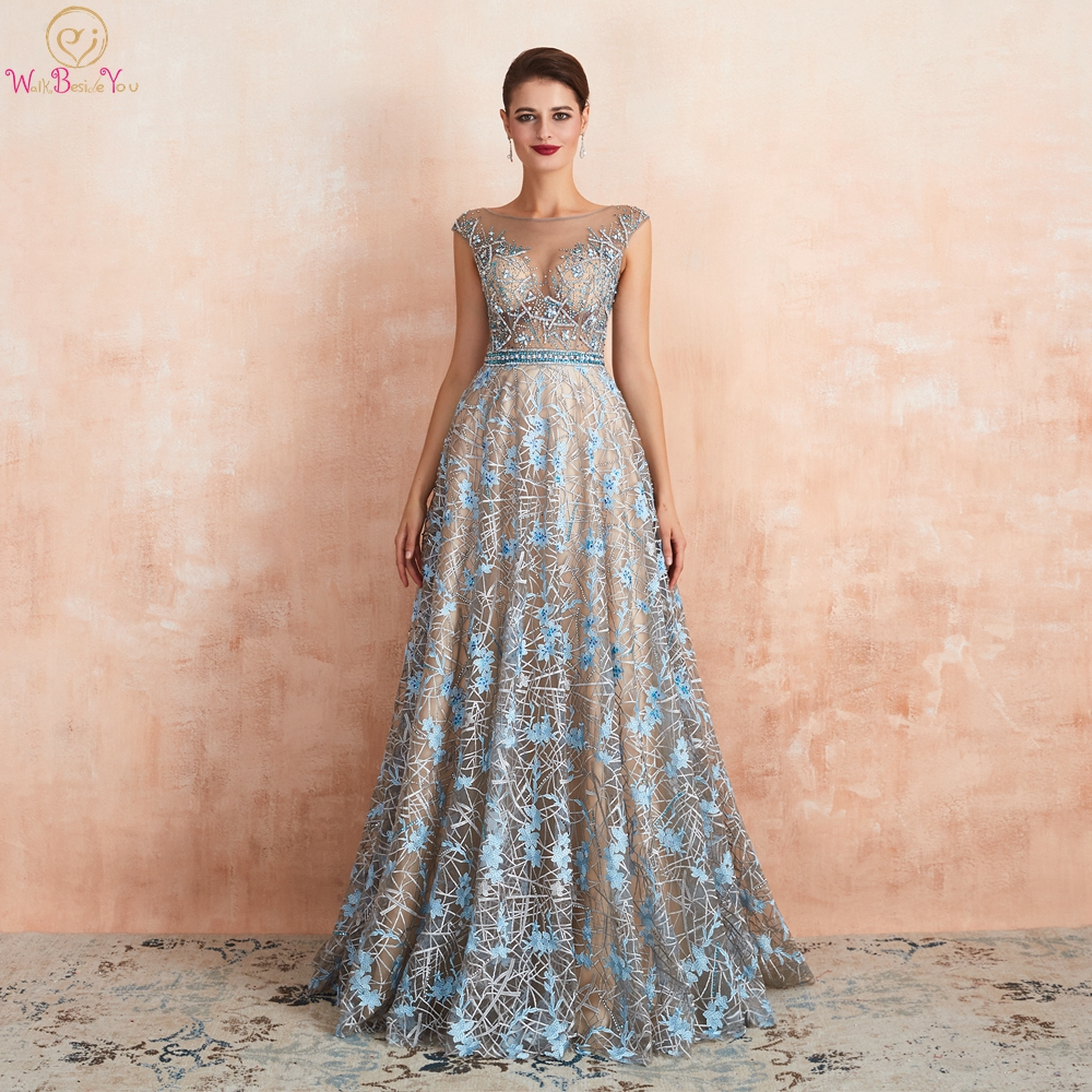 Blue Lace Prom Dresses 2020 Beaded Rhinestone A Line Cap Sleeves Long Sheer Neck Evening Gowns Engagement Dress Abendkleider
