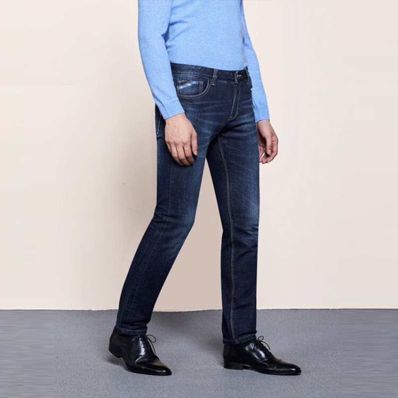 Goldberg Slim Fit Straight-Cut Jeans Men's 2019 Autumn Medium Waist Irregular Blank Soft Micro Elastic Cowboy Trousers