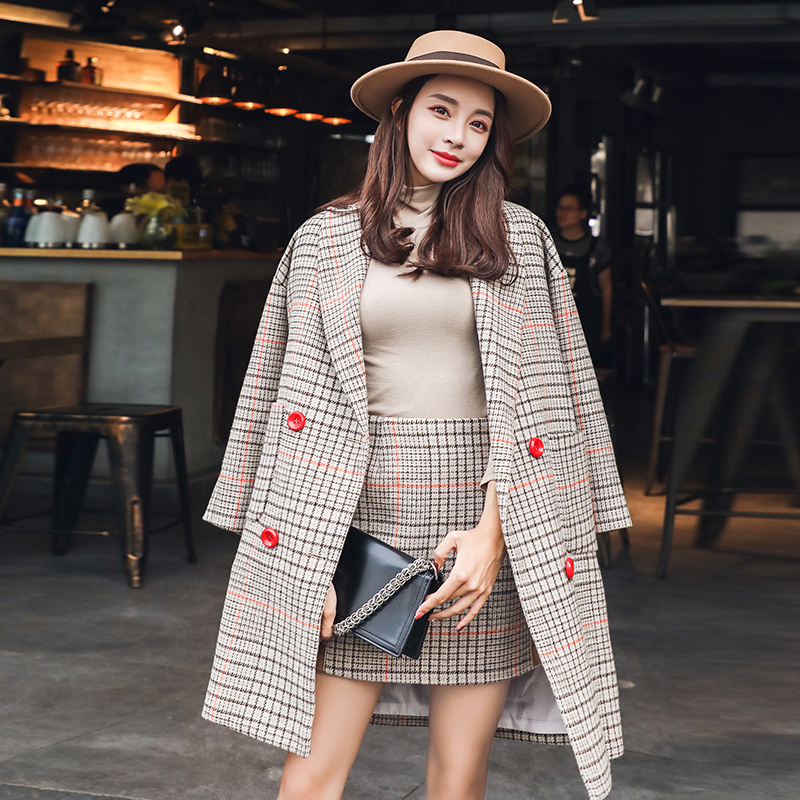 Vintage Skirt Suit 2019 3/4 Sleeve Cotton Blends Plaid Long Blazer Winter Coat Women+Mini A Line Skirt Two Piece Autumn Sets