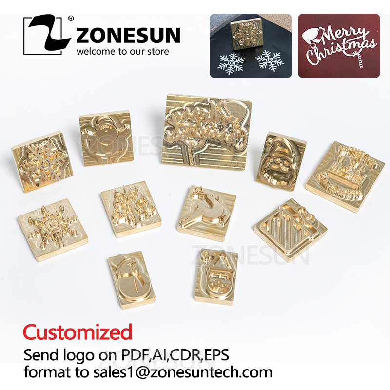 ZONESUN Custom Brass Logo Stamp Chirstmas Tree Gift Decoration Leather Stamping Embossing Tool Wood Burning Branding Iron